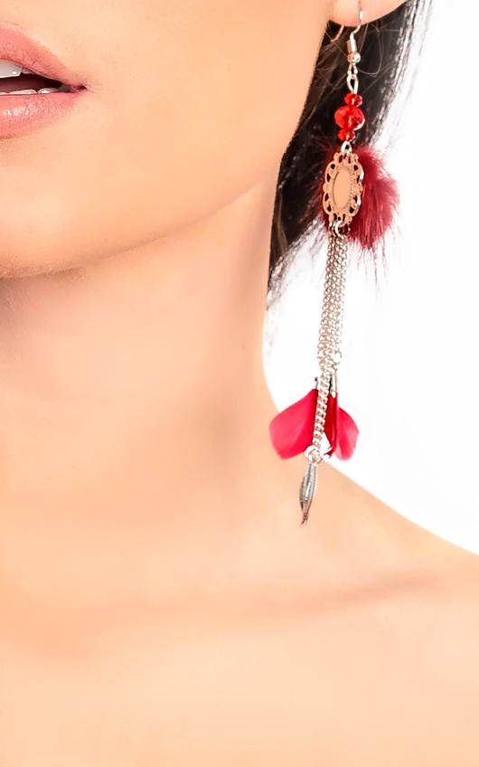 Pia Pom Pom Feather Earrings
