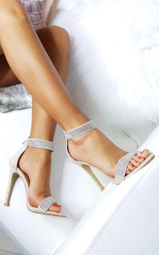 Vera Diamante Strap Barely There Heels