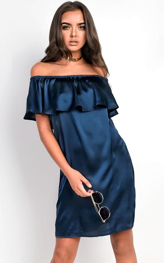 Rhodes Satin Bardot Dress