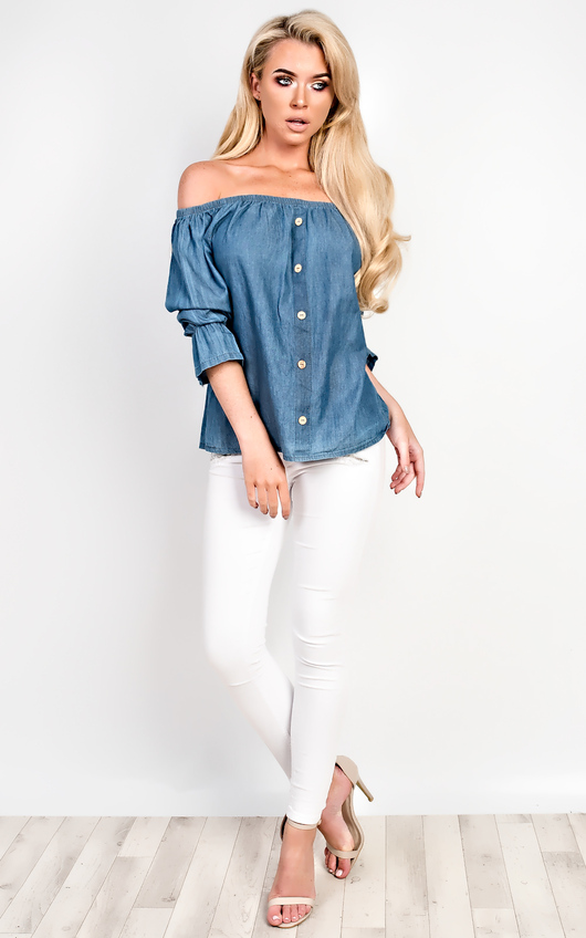 Denna Denim Shift Top