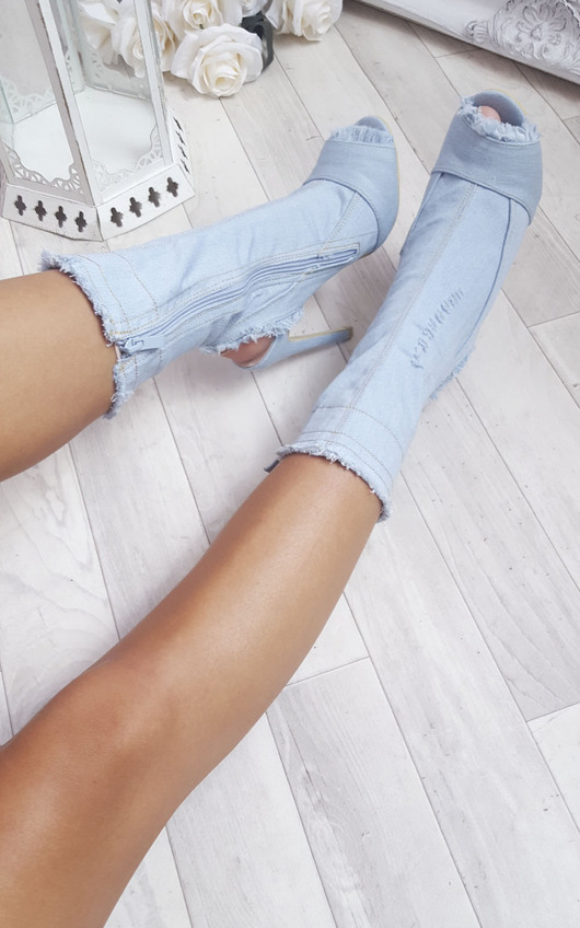 Dena Denim Frayed Peep Toe Heeled Ankle Boots