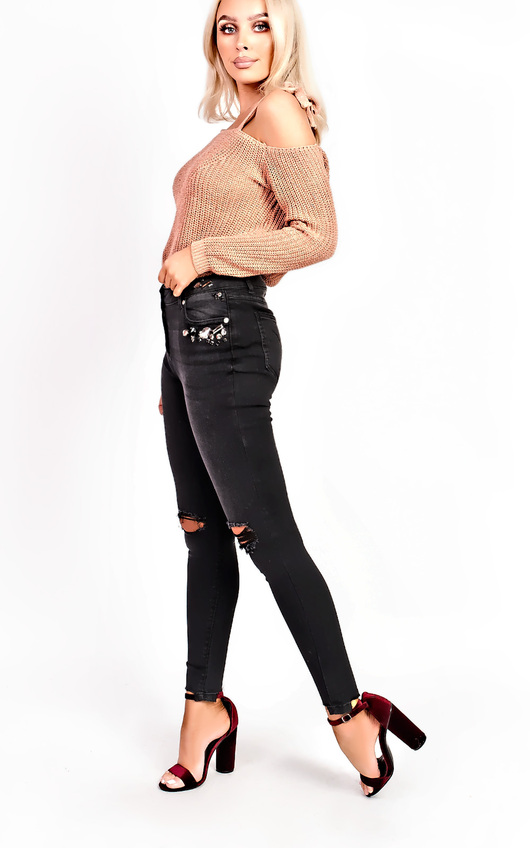Clara Ripped Embellished Skinny Jeans