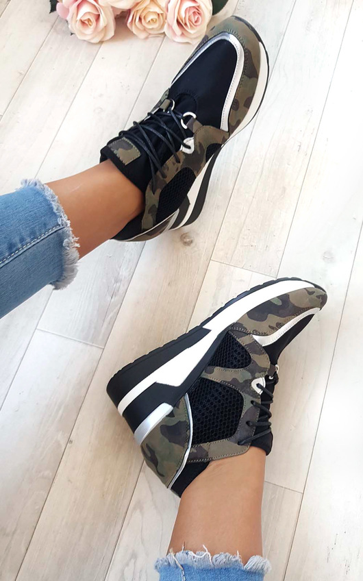 Lou Mesh Chrome Wedge Trainers