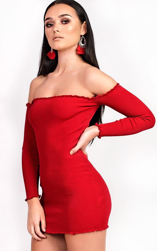 Loudria Bardot Stretch Mini Dress
