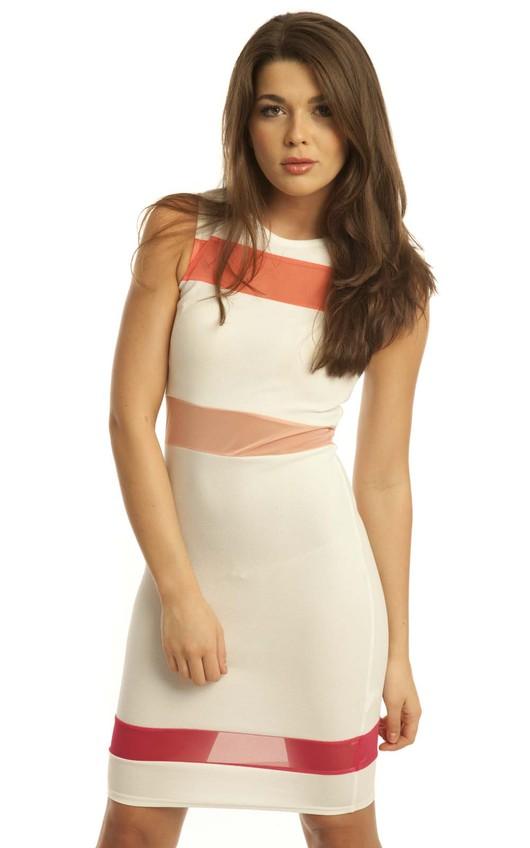 Hiera Cream Striped Midi Dress