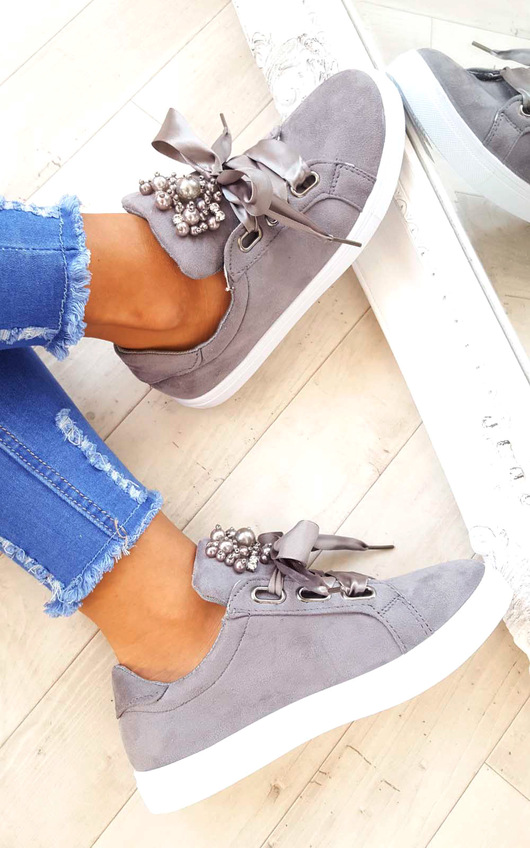 Amy Embellished Suede Trainers
