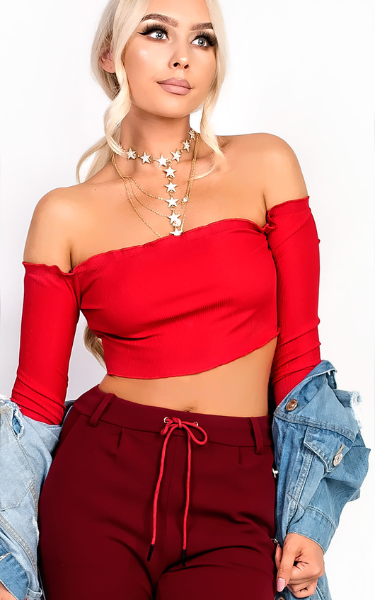 Haley Ribbed Long Sleeved Crop Top