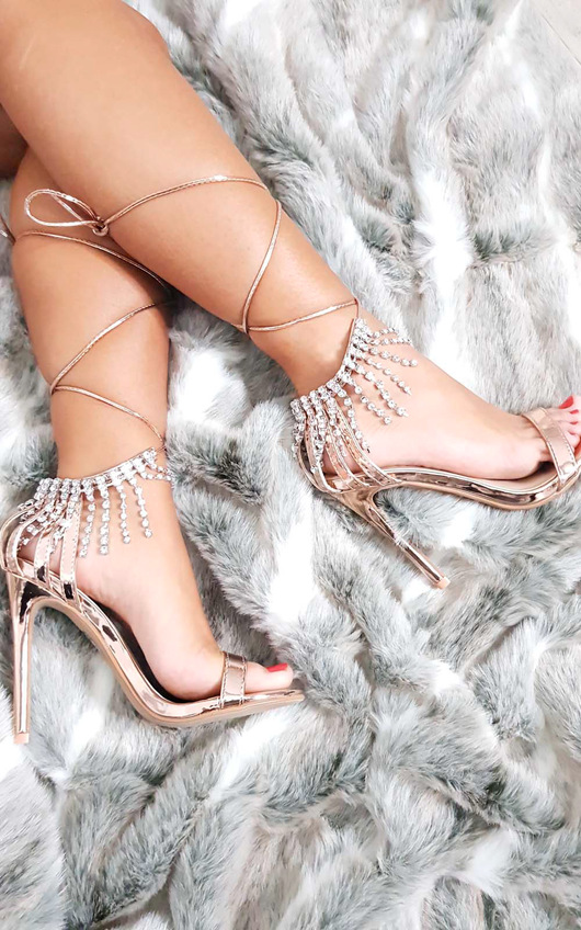 Sasha Barely There Diamante Lace Up Heels