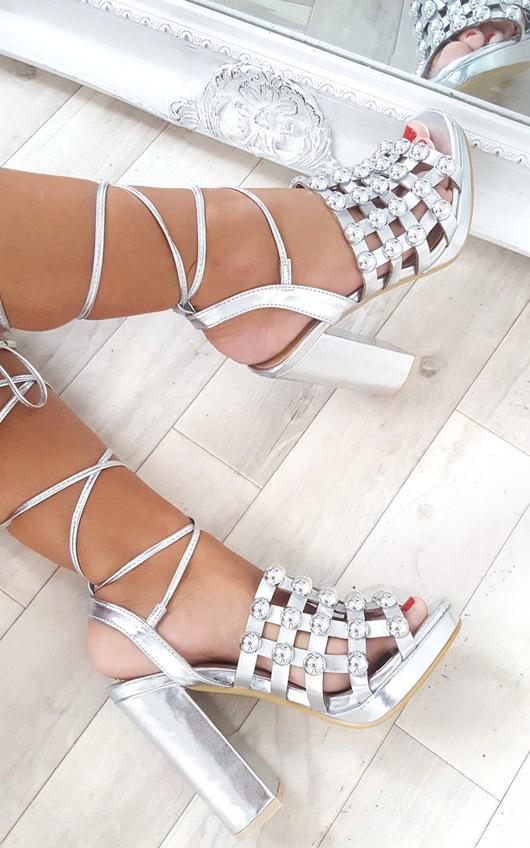 Carmen Studded Caged Block Heels