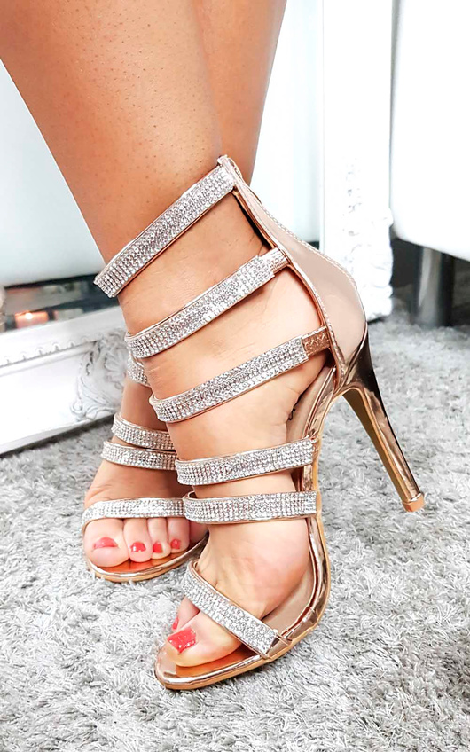 Sara Strappy Diamante High Heels