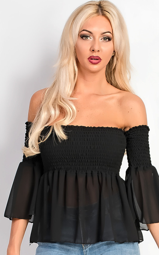 Carrie Bardot Floaty Bell Sleeve Stretch Top