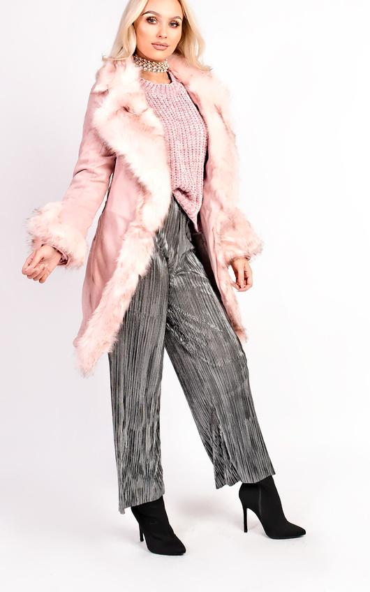 Toula Faux Suede Fur Longline Jacket