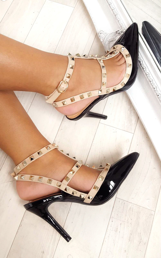 Andrea Multi Strap T-Bar Studded Court Heels