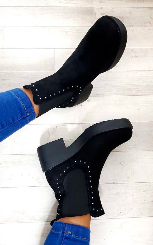 Faye Studded Chelsea Faux Suede Ankle Boots