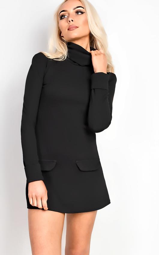 Bobbi High Neck Shift Dress in Black  7c94f993a
