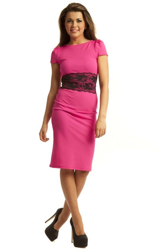 Elle Lace Panel Bodycon Midi Dress