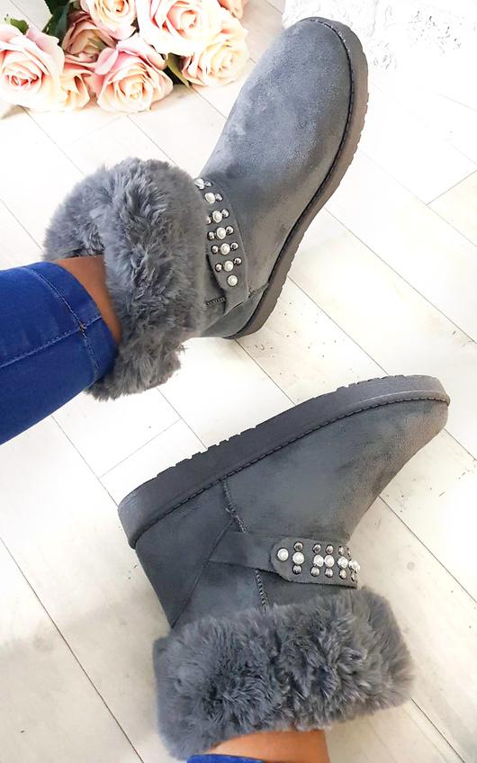 Carla Faux Fur Platform Embellished Boots