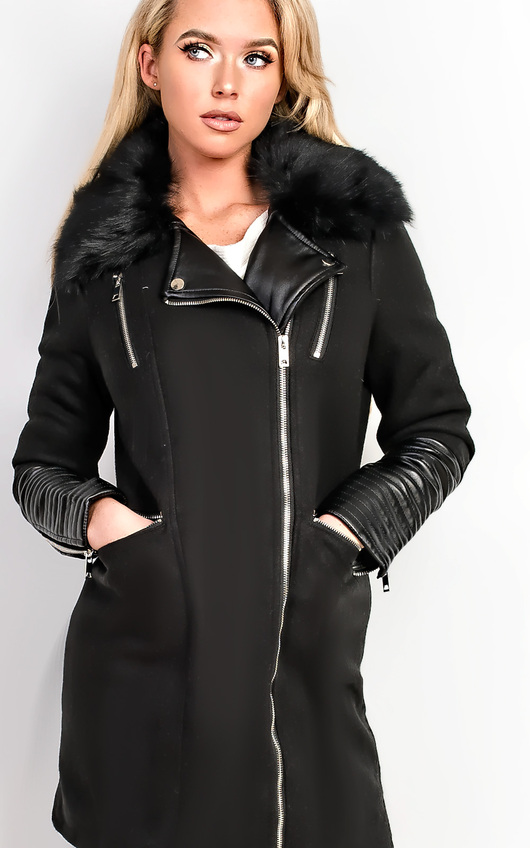 Marla Faux Leather Midi Jacket