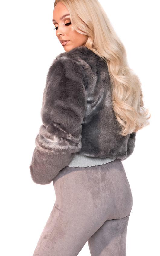 00dae512b66 Faux Fur Jacket This adorable grey faux fur jacket by Divided has a