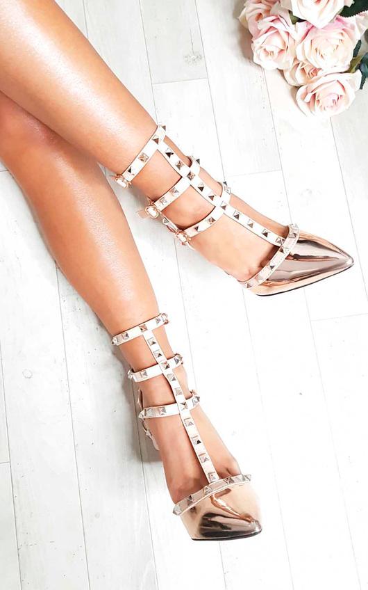 Milana Multi Strap T-Bar Studded Court Heels