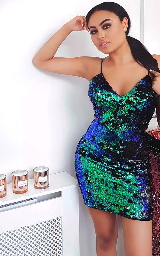 Lexia Strappy Sequin Bodycon Dress