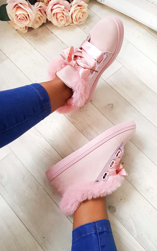 Shyla Faux Suede Fluffy Trainers