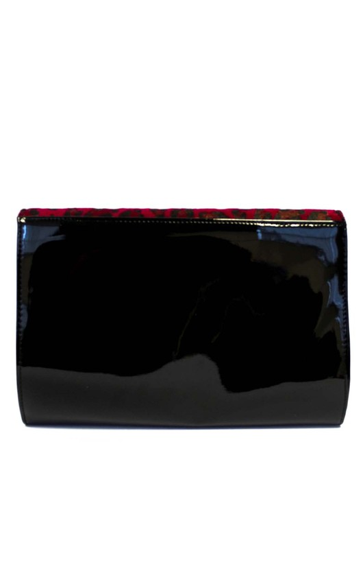 Anesu Red Leopard Print Clutch Bag