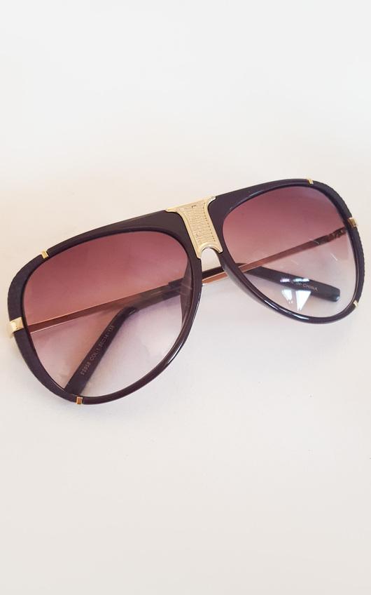 Lorita Gold Bar Brown Sunglasses