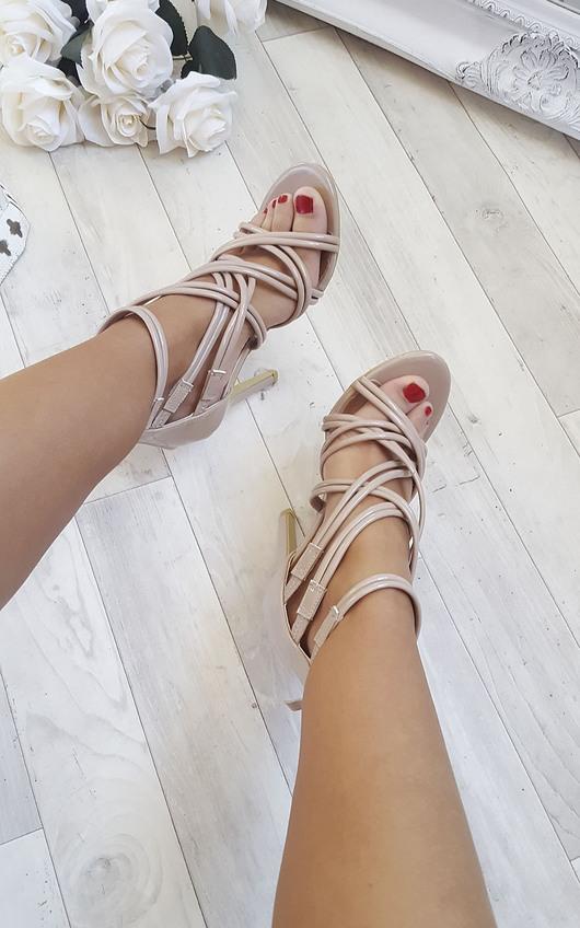 Genevieve Strappy Patent High Heels