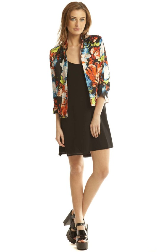 Joelle Floral Blazer in Red