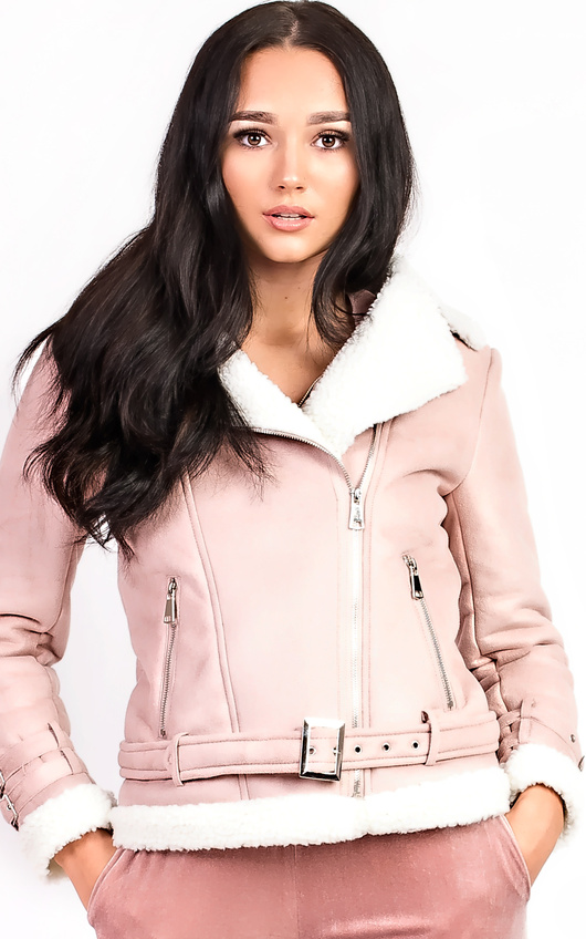 Bliss Biker Faux Suede Fur Jacket
