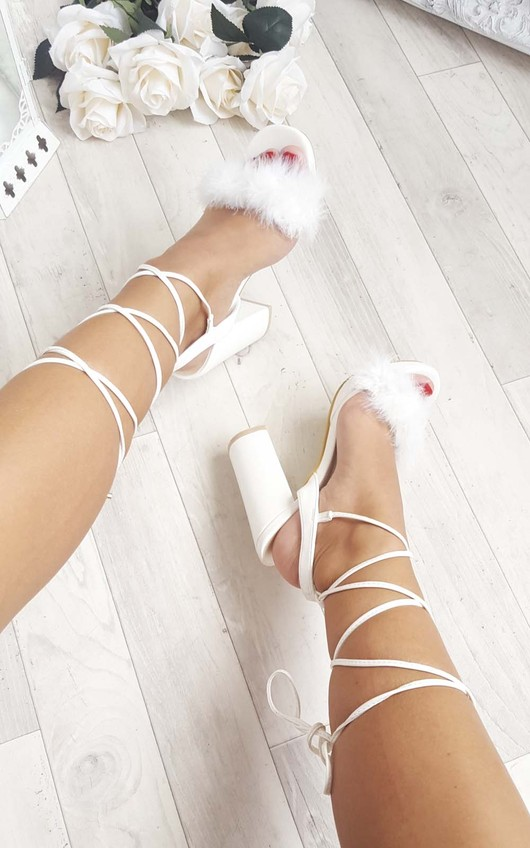 Loucia Fluffy Lace Up High Heels