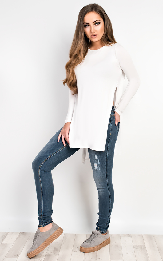 Laila Basic Side Split Casual Top