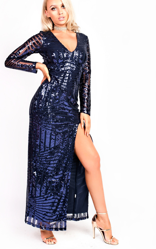 Olivia Sequin Plunge Evening Maxi Dress