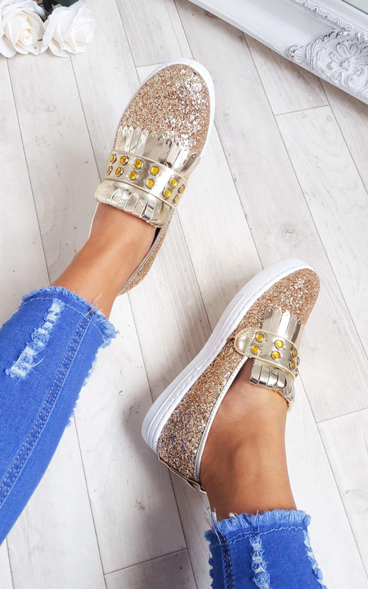 Konnie Sequin Gem Slip On Trainers