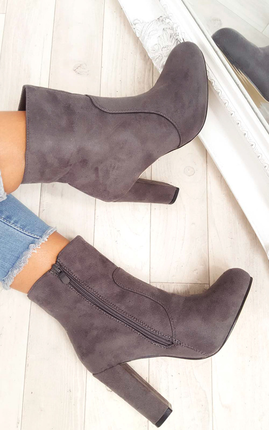 Ellie Faux Suede Heeled Ankle Boots
