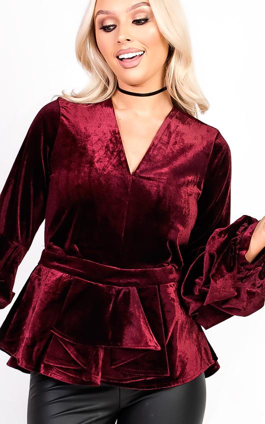 Rozlyn Ruffle Sleeve Peplum Velvet Top