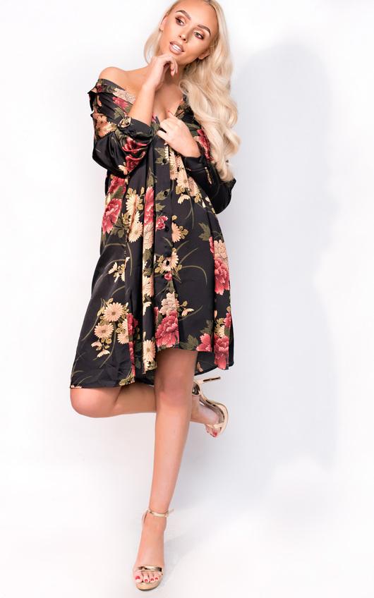 Melody Oversize Satin Floral Shirt Dress