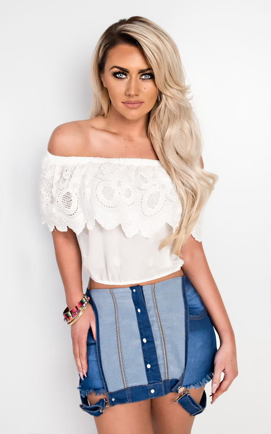 94ed2aea9f8 Alexus Off Shoulder Lace Top in White | ikrush