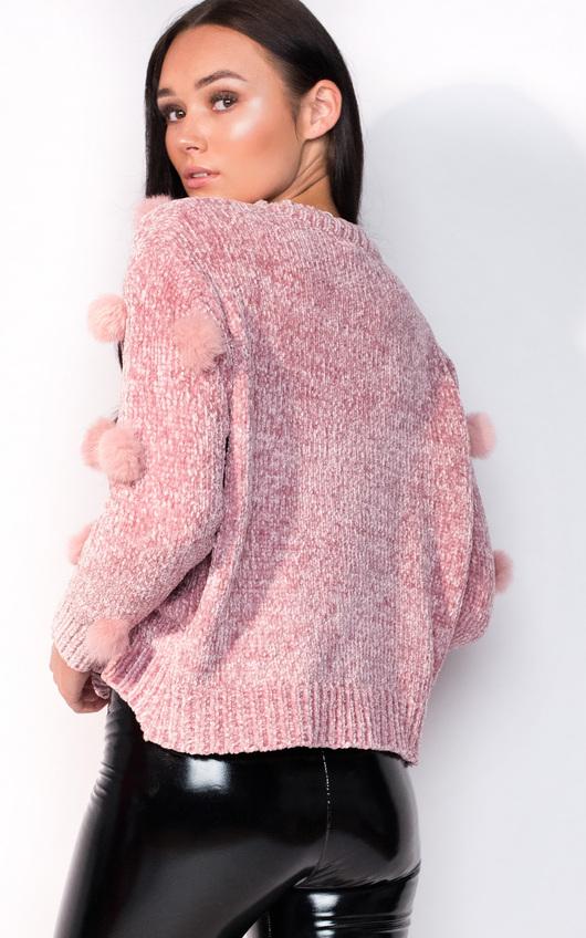 Jesse Faux Fur Pom Pom Knitted Jumper