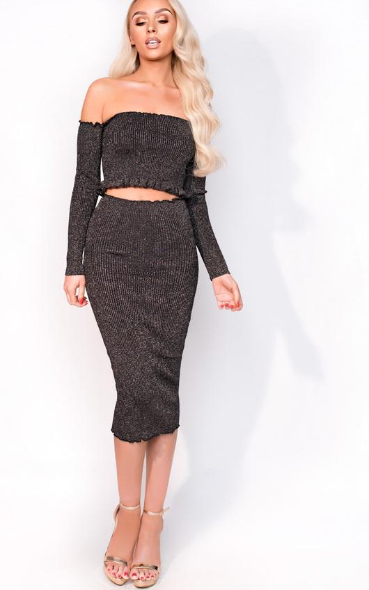 Stella Luxe Sparkle Bandage Midi Skirt