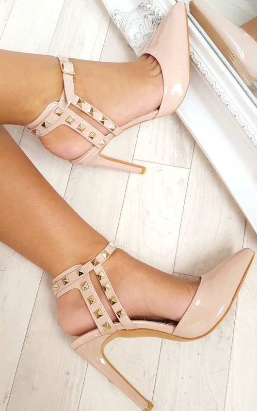 Anah Multi Ankle Strap Studded Court Heels
