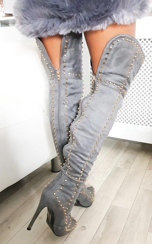 Shia Studded Thigh High Boots