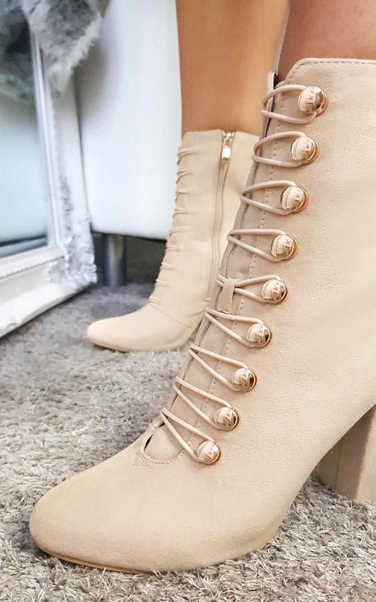 Elle Faux Suede Corset Ankle Boots