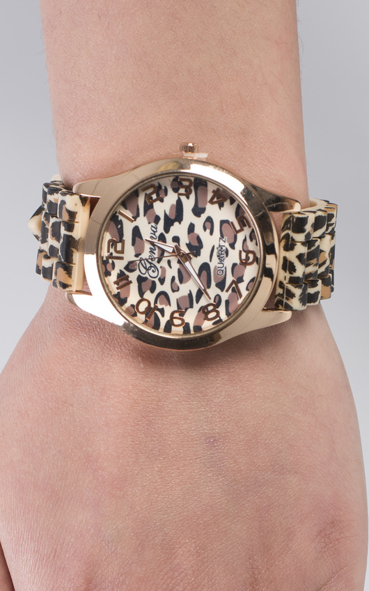 Baize Leopard Print Watch