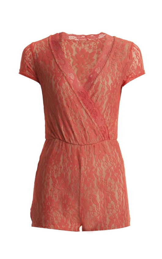 Anya Lace Evening Playsuit Coral