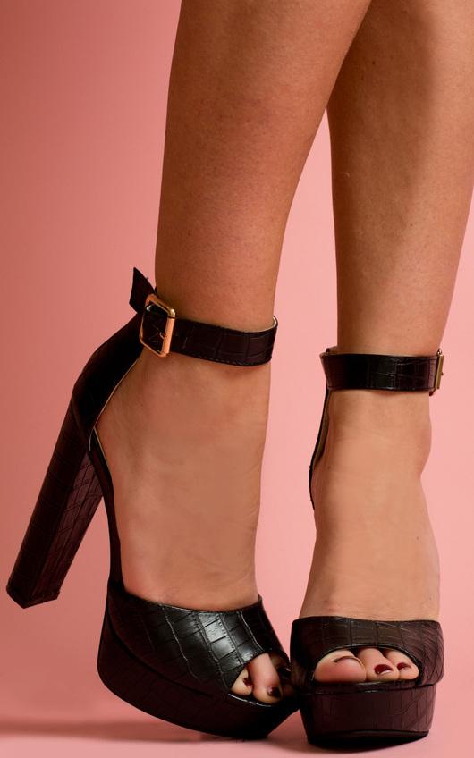 Qura Croc Print Platform Sandal