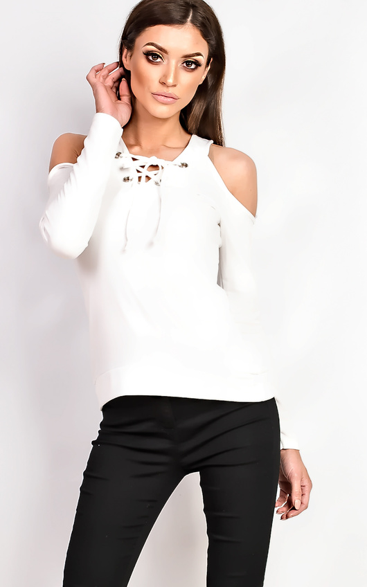cb3010ee314f21 Hettie Eyelet Lace Up Cold Shoulder Top in Cream | ikrush
