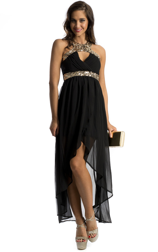 Loren Sequin Embellished Dipped Hem Dress