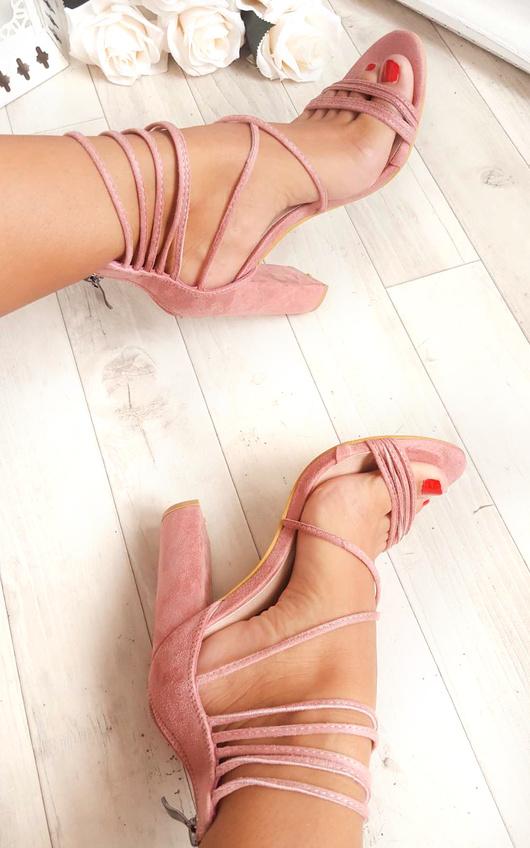 Larissa Strappy Faux Suede Block Heels